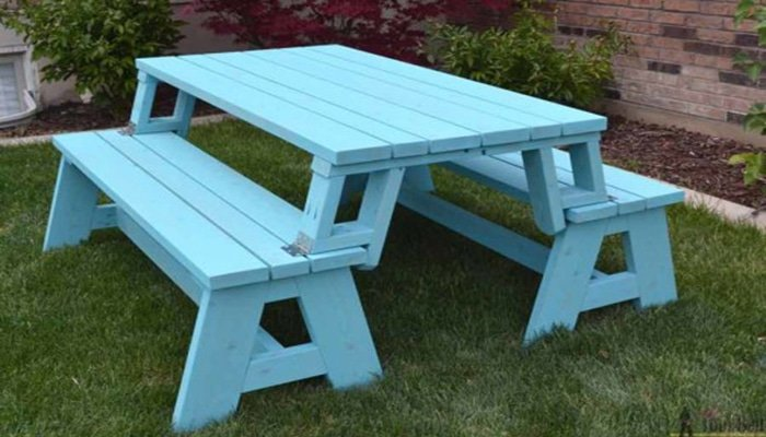 her tool belt's convertible picnic table and bench